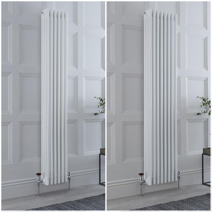 Milano Windsor - White 1800mm Vertical Traditional Four Column Radiator - Choice of Size and Feet