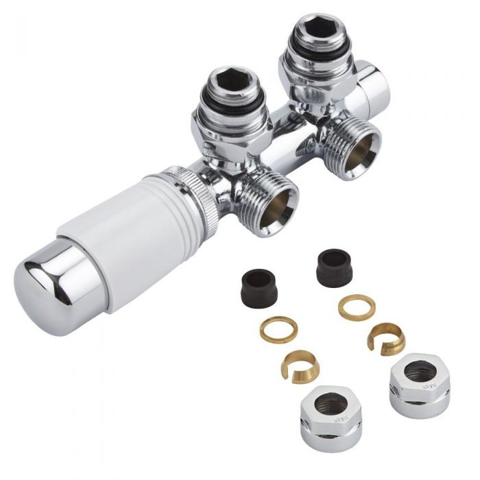 Milano - Chrome H-Block Angled Valve With White TRV Head - 15mm Copper Adapters