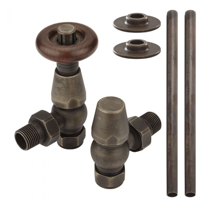 Milano Windsor - Traditional Thermostatic Angled Radiator Valve and Pipe Set - Aged Bronze