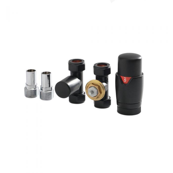 Milano - Black Thermostatic Straight Radiator Valve and Lockshield