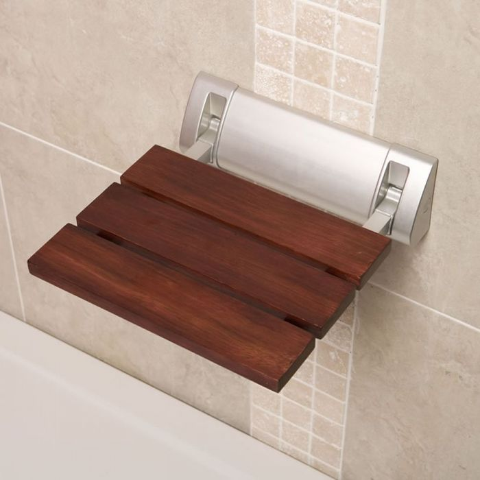 Milano Select - Modern Wall Mounted Folding Shower Seat with Wide Bracket - Sapele