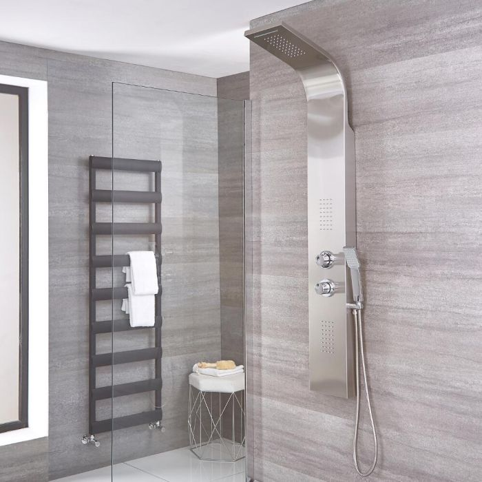 Milano Weston - Modern Thermostatic Shower Tower Panel with Waterfall Shower Head, Hand Shower and Body Jets - Chrome