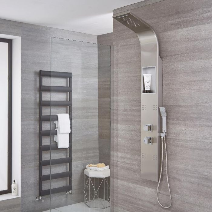 Milano Morton - Modern Thermostatic Shower Tower Panel with Waterfall Shower Head, Hand Shower and Body Jets - Chrome