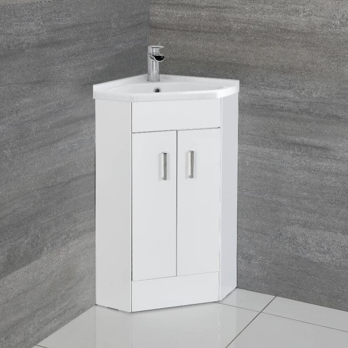 Milano Lurus - White 555mm Corner Vanity Unit with Basin