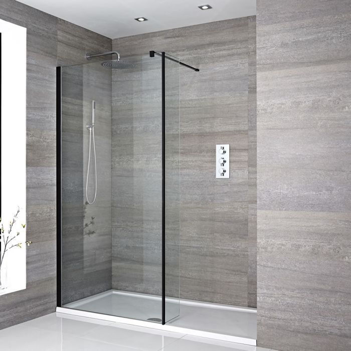 Milano Nero - Recessed Walk-In Shower Enclosure with Tray - Choice of Sizes and Hinged Return Panel Option