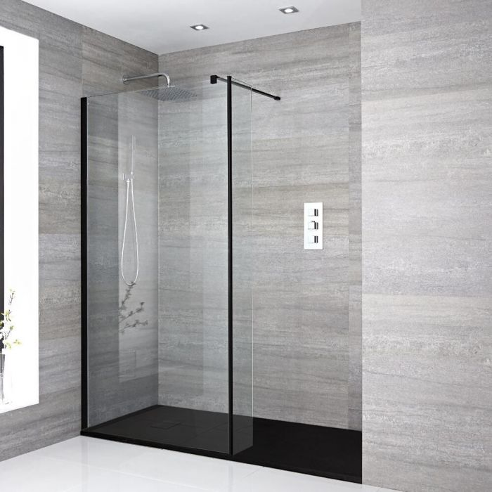 Milano Nero - Recessed Walk-In Shower Enclosure with Slate Tray - Choice of Sizes and Hinged Return Panel Option