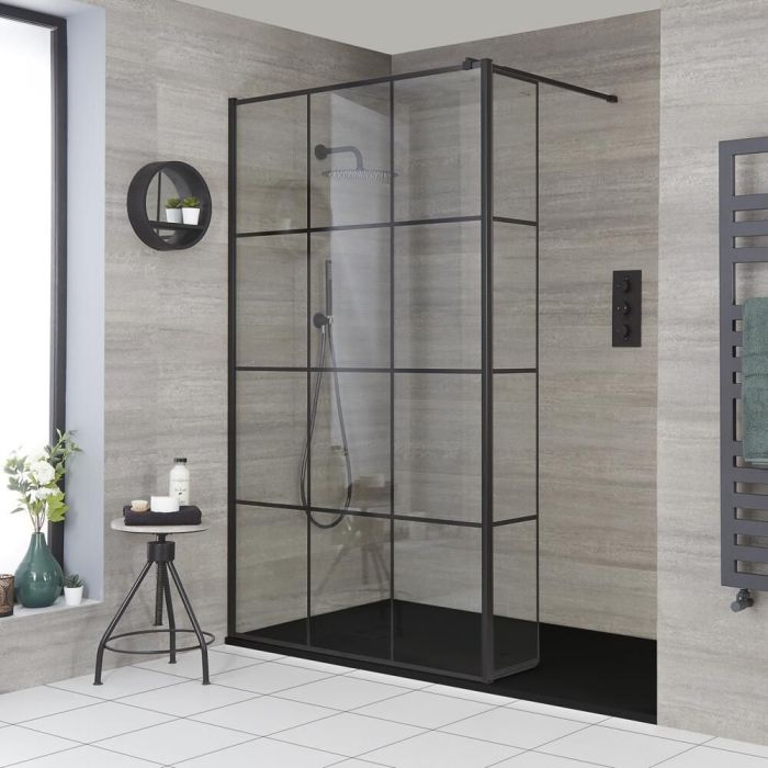 Milano Barq - Recessed Walk-In Shower Enclosure with Slate Tray - Choice of Sizes and Hinged Return Panel Option