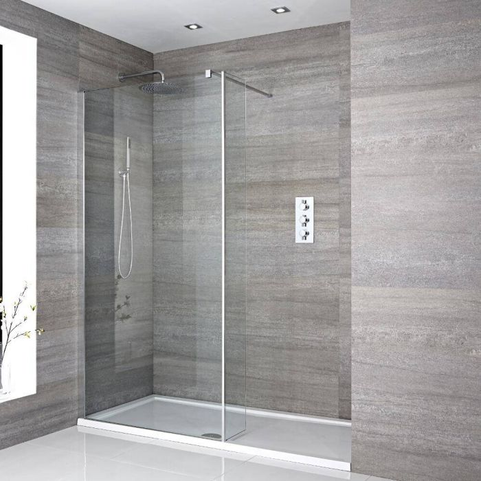 Milano Portland - Recessed Walk-In Shower Enclosure with Tray - Choice of Sizes and Hinged Return Panel Option
