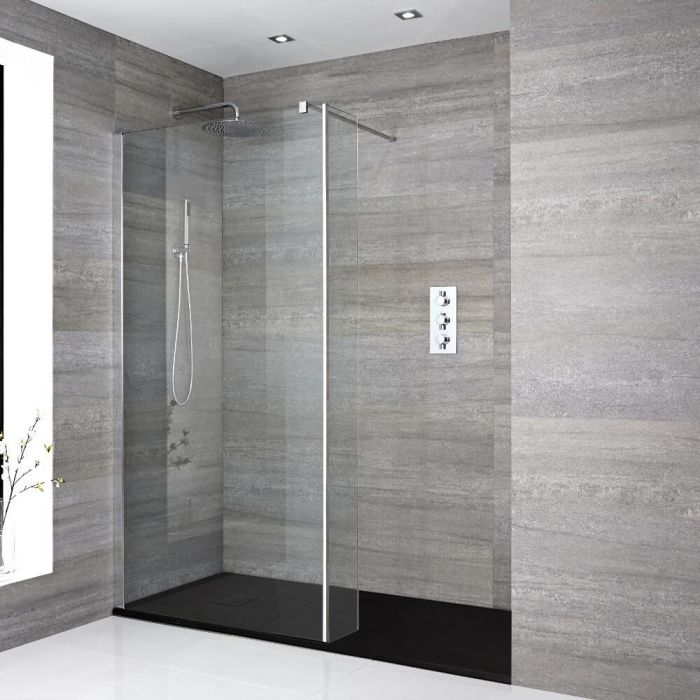 Milano Portland - Recessed Walk-In Shower Enclosure with Slate Tray - Choice of Sizes and Hinged Return Panel Option