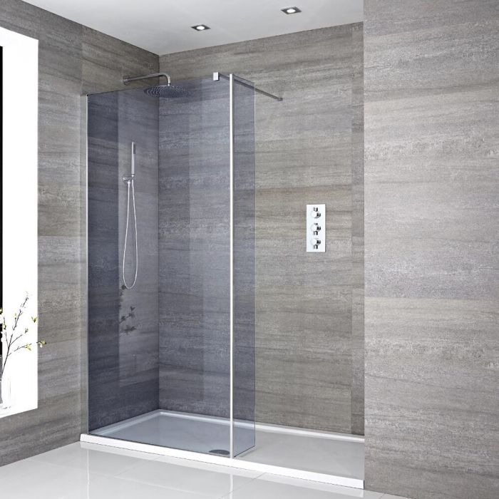 Milano Portland-Luna - Smoked Glass Recessed Walk-In Shower Enclosure with Tray - Choice of Sizes and Hinged Return Panel Option
