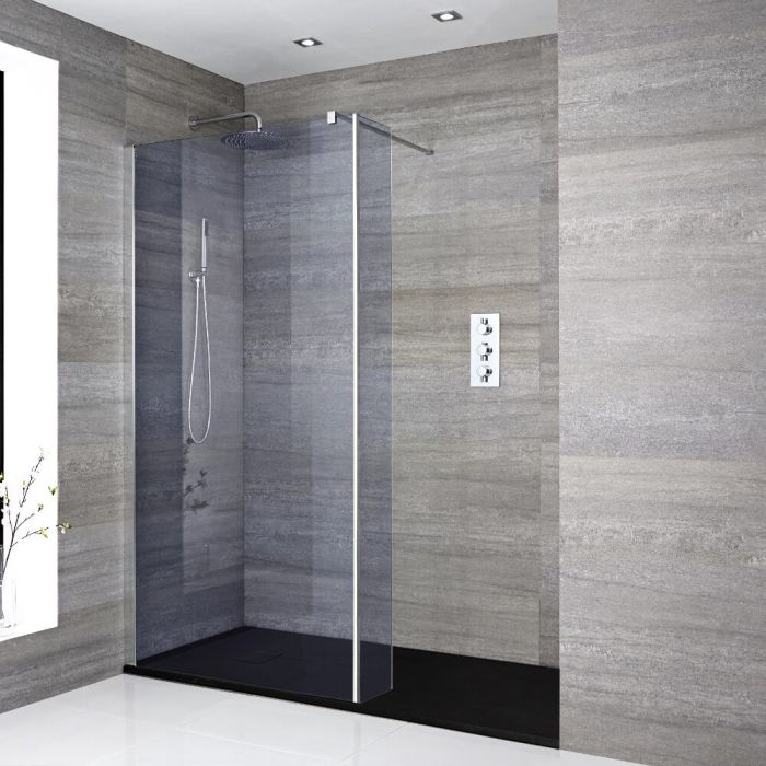 Milano Portland-Luna - Smoked Glass Recessed Walk-In Shower Enclosure with Slate Tray - Choice of Sizes and Hinged Return Panel Option