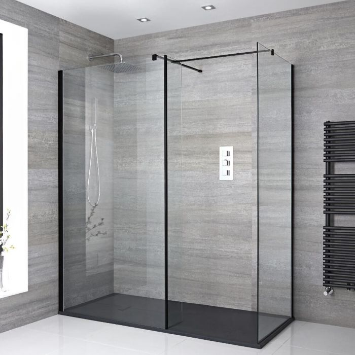 Milano Nero - Corner Walk-In Shower Enclosure with Slate Tray - Choice of Sizes and Hinged Return Panel Option