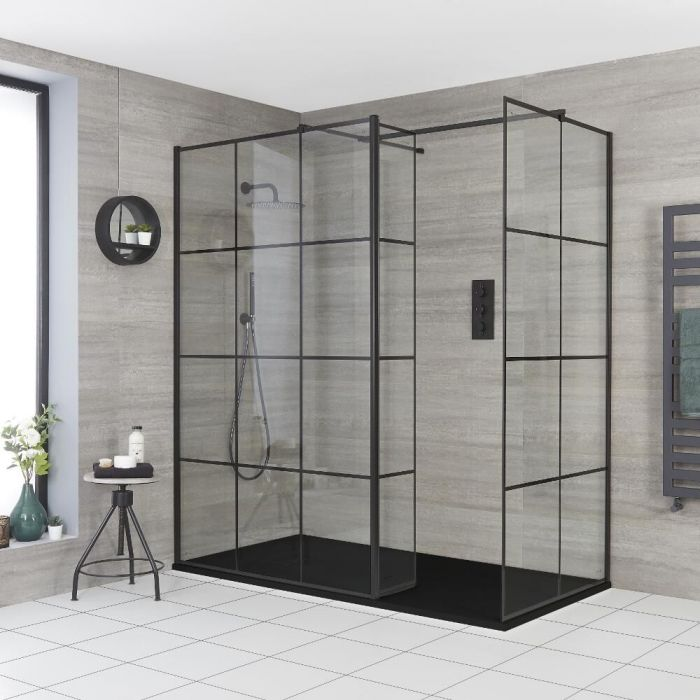 Milano Barq - Corner Walk-In Shower Enclosure with Slate Tray - Choice of Sizes and Hinged Return Panel Option