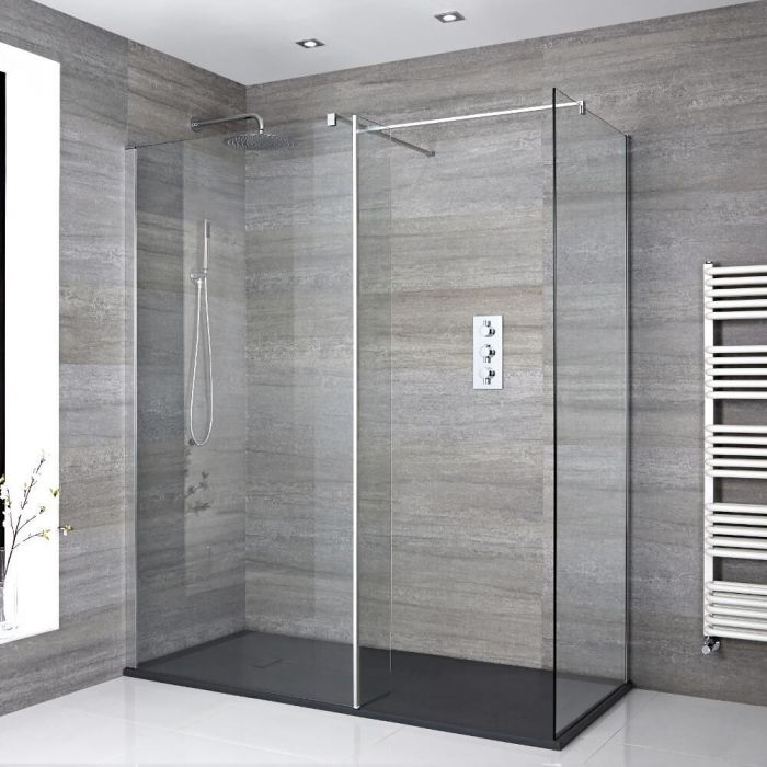 Milano Portland - Corner Walk-In Shower Enclosure with Slate Tray - Choice of Sizes and Hinged Return Panel Option