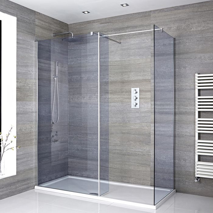 Milano Portland-Luna - Smoked Glass Corner Walk-In Shower Enclosure with Tray - Choice of Sizes and Hinged Return Panel Option