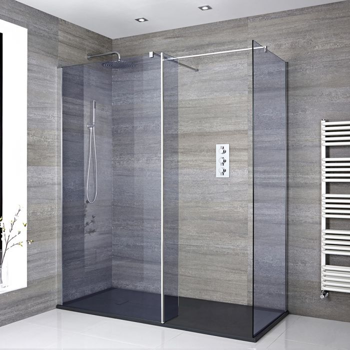 Milano Portland-Luna - Smoked Glass Corner Walk-In Shower Enclosure with Slate Tray - Choice of Sizes and Hinged Return Panel Option