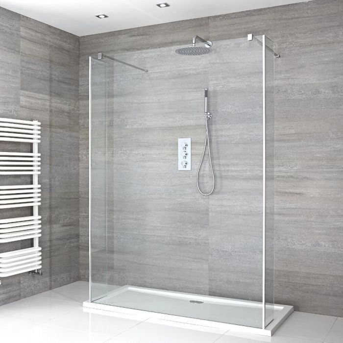 Milano Portland - Floating Walk-In Shower Enclosure with Tray - Choice of Sizes and Hinged Return Panel Option