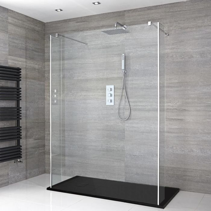 Milano Portland - Floating Walk-In Shower Enclosure with Slate Tray - Choice of Sizes and Hinged Return Panel Option