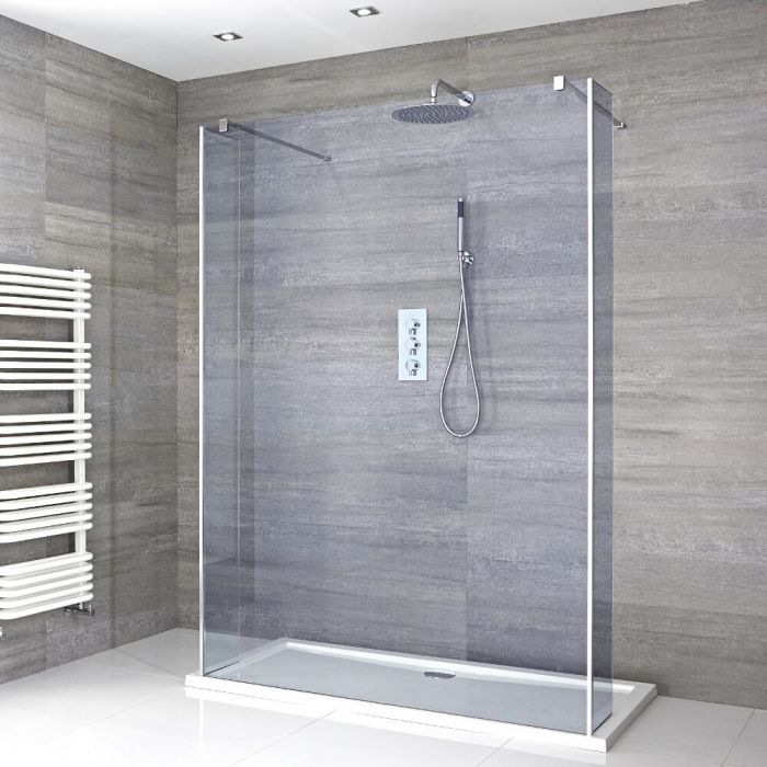 Milano Portland-Luna - Smoked Glass Floating Walk-In Shower Enclosure with Tray - Choice of Sizes and Hinged Return Panel Option