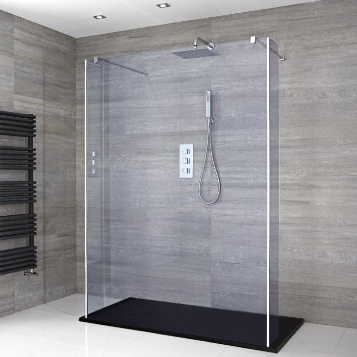 Milano Portland-Luna - Smoked Glass Floating Walk-In Shower Enclosure with Slate Tray - Choice of Sizes and Hinged Return Panel Option