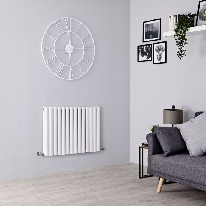Milano Aruba - White Horizontal Designer Radiator - 600mm x 834mm (Double Panel)