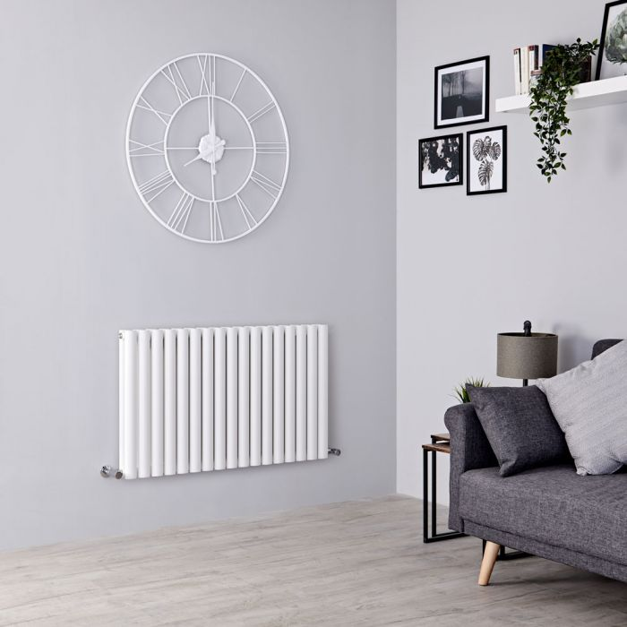 Milano Aruba - White Horizontal Designer Radiator - 600mm x 1000mm (Double Panel)