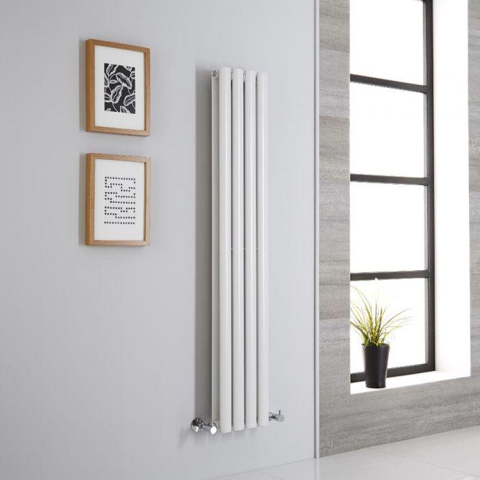 Milano Aruba - White Vertical Designer Radiator - 1400mm x 236mm (Double Panel)