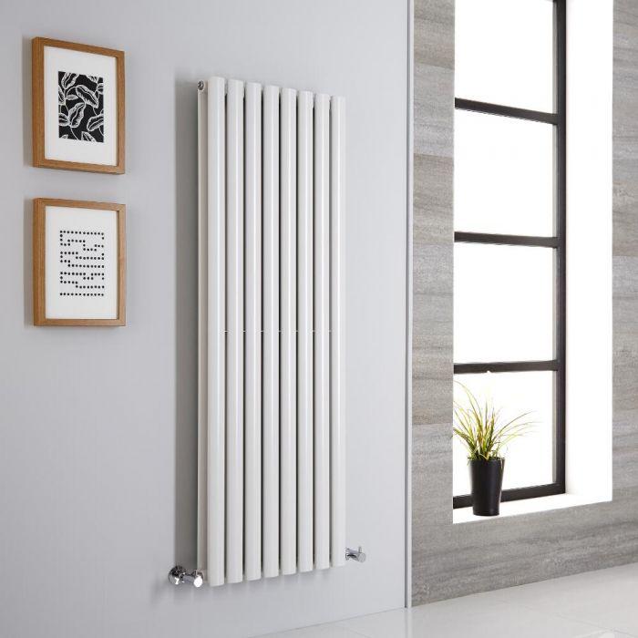 Milano Aruba - White Vertical Designer Radiator - 1400mm x 472mm (Double Panel)