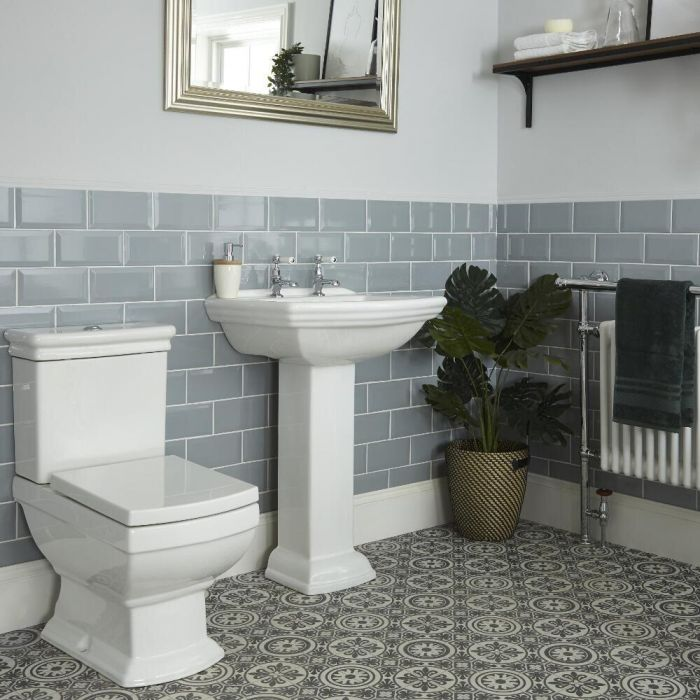 Milano Sandringham - Traditional Close Coupled Toilet and Pedestal Basin Set