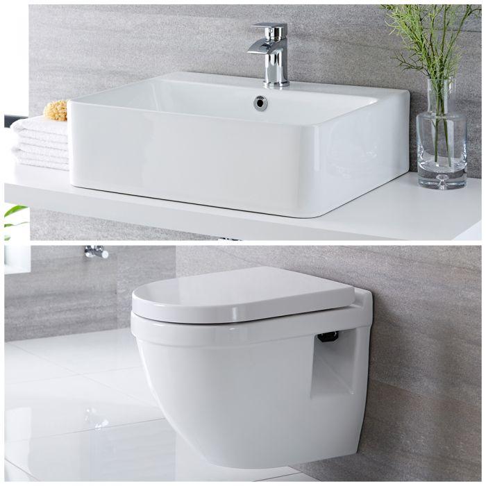 Milano Farington - Modern Wall Hung Toilet and Basin Set