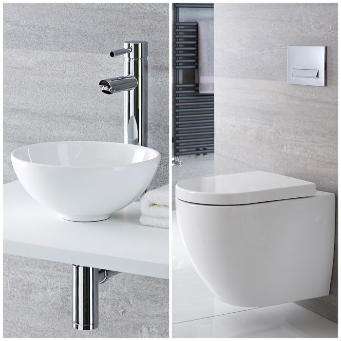 Milano Irwell - Modern Rimless Wall Hung Toilet and Countertop Basin Set