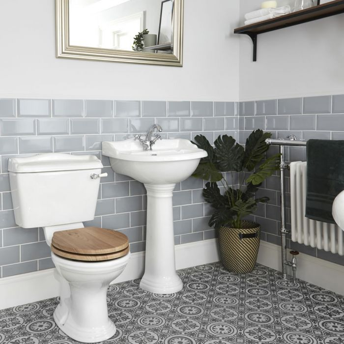 Milano Towneley - Traditional Close Coupled Toilet and Pedestal Basin Set