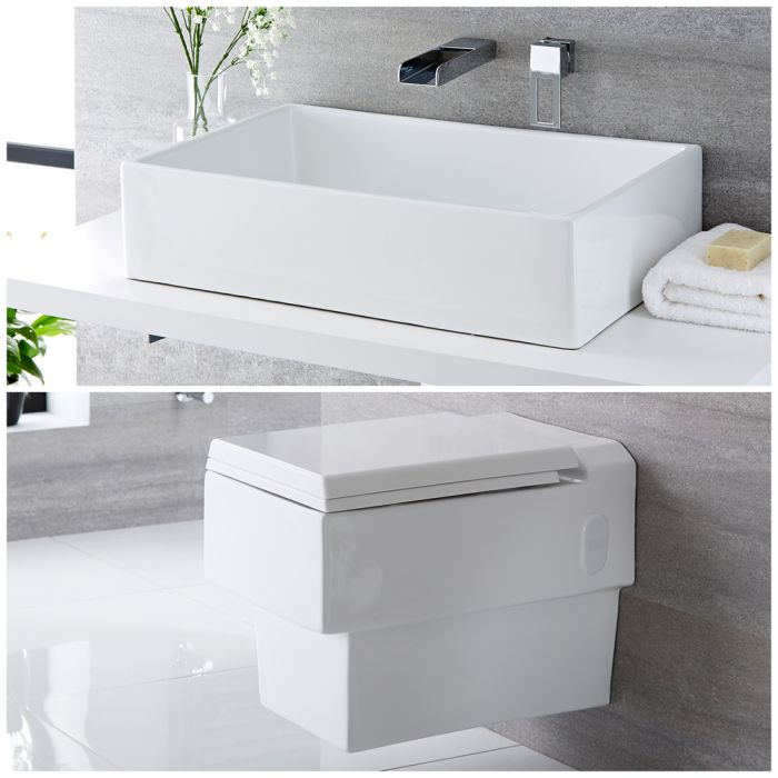 Milano Westby - Modern Wall Hung Toilet and Countertop Basin Set