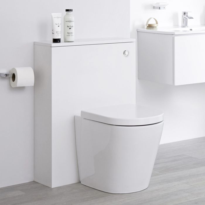 Milano Oxley - White 600mm WC Unit with Back to Wall Toilet