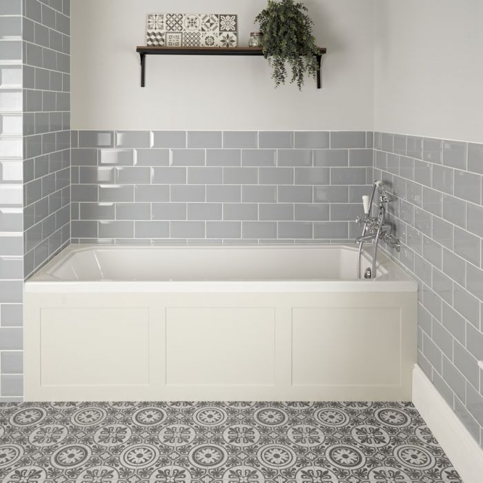 Milano Richmond - White Traditional Single Ended Standard Bath with Antique White Panel - 1700mm x 700mm