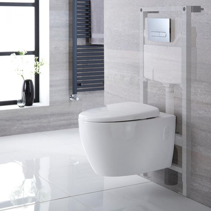 Milano Altham - White Modern Rimless Wall Hung Toilet with Tall Wall Frame - Choice of Flush Plate