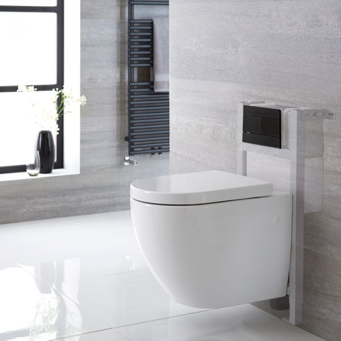 Milano Irwell - White Modern Rimless Wall Hung Toilet with Short Wall Frame - Choice of Flush Plate