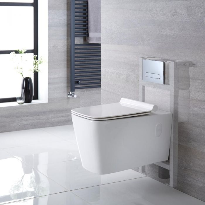 Milano Elswick - White Modern Wall Hung Toilet with Short Wall Frame - Choice of Flush Plate