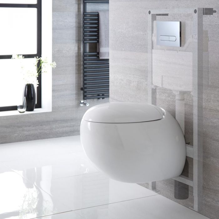 Milano Mellor - White Modern Wall Round Hung Toilet with Tall Wall Frame - Choice of Flush Plate