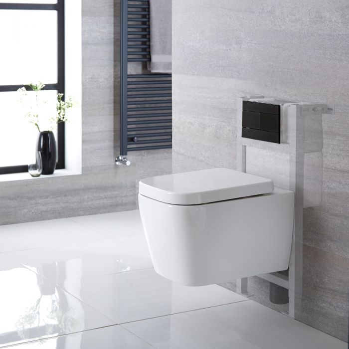 Milano Longton - White Modern Wall Hung Toilet with Short Wall Frame - Choice of Flush Plate