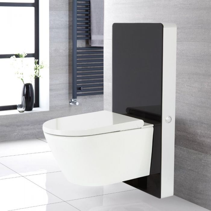 Milano Arca - Black 500mm Japanese Bidet Toilet Complete WC Unit