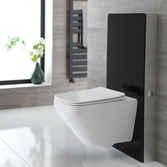 Milano Arca - Black 500mm Complete WC Unit with Farington Rimless Toilet