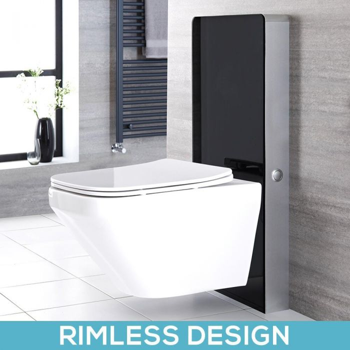 Milano Arca - Black 500mm Complete WC Unit with Farington Rimless Toilet
