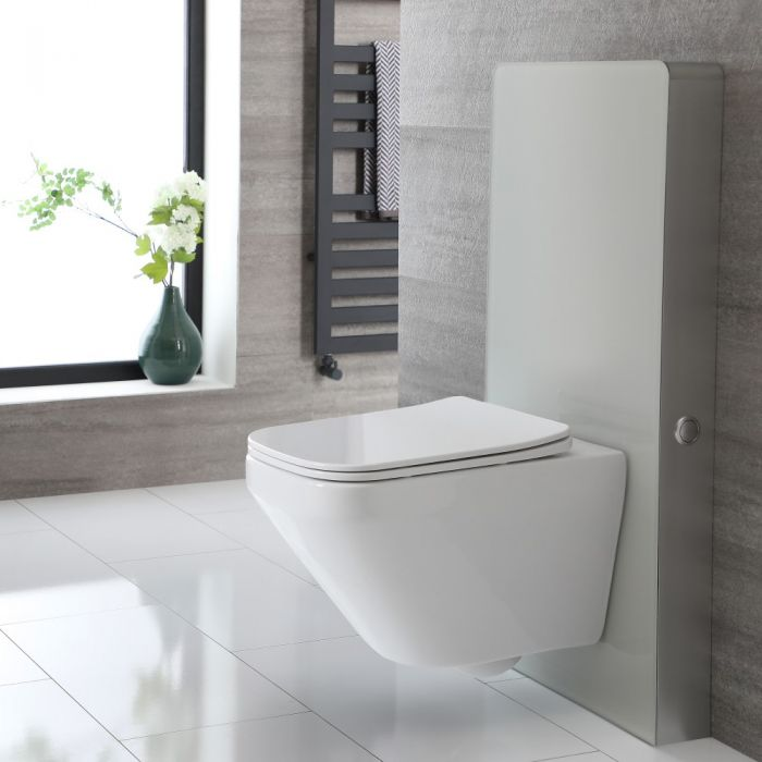 Milano Arca - White 500mm Complete WC Unit with Farington Rimless Toilet