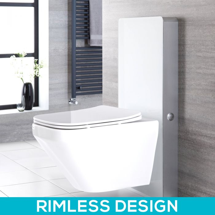 Milano Arca - White 500mm Complete WC Unit with Longton Rimless Toilet