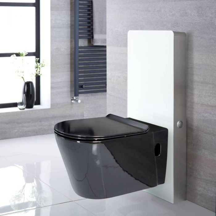 Milano Nero - White 500mm Complete WC Unit with Toilet