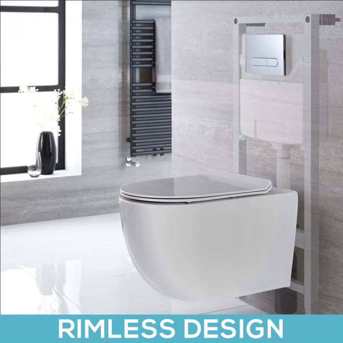 Milano Overton - White Modern Rimless Wall Hung Toilet with Tall Wall Frame - Choice of Flush Plate
