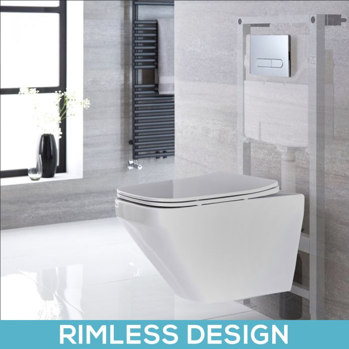 Milano Farington - White Modern Rimless Wall Hung Toilet with Tall Wall Frame - Choice of Flush Plate
