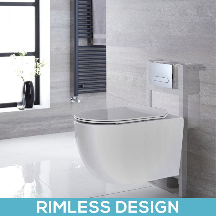 Milano Overton - White Modern Rimless Wall Hung Toilet with Short Wall Frame - Choice of Flush Plate