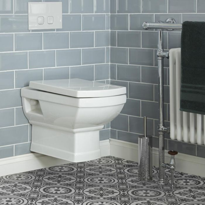 Milano Sandringham - Traditional Wall Hung Toilet with Wall Frame and Choice of Flush Plate